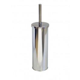 Round Mirrored Metal Toilet Brush and Holder