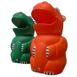 Green and Orange Hippo Litter Bin