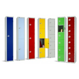 Single Door Steel Locker with Coloured Door 1800x300x300mm