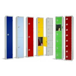 Four Door Steel Locker with Coloured Door 1800x450x450mm
