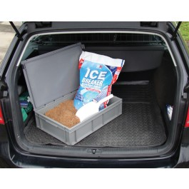 Vehicle Rock Salt Kit - Containing 28ltr Heavy Duty Plastic Container, 25kg Coarse Brown Rock Salt & 1ltr Plastic Scoop