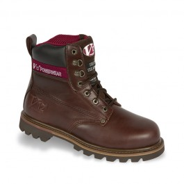 V12 Boulder Mahogany Hide Derby Safety Boot - Available In Sizes 5-13