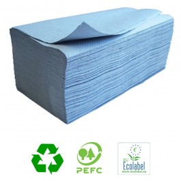 Vantage 1ply Blue Interleaved Paper Hand Towels - Case of 5000