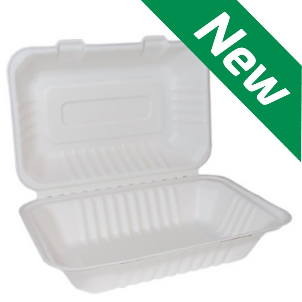 """9"""" x 6"""" Bagasse Clamshell Large Box - Compostable"""