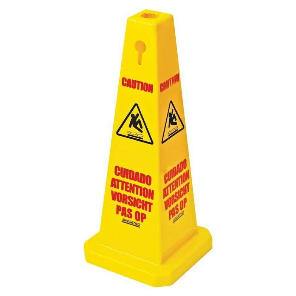 Tall Yellow Caution Tri-Cone