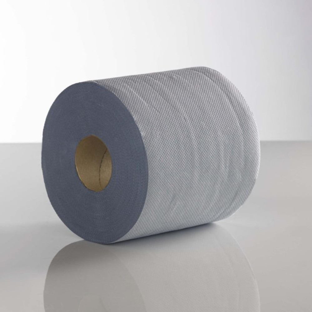 2ply 150m 18cm Blue Embossed Centre Feed Rolls (Case Of 6) 1