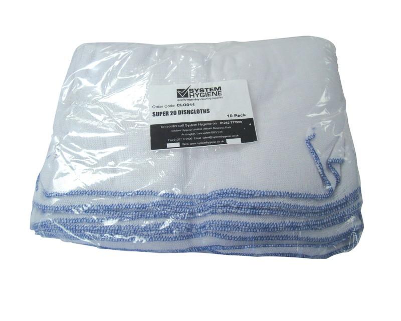 "50x38cm (20x15"") Super 20 Bleached Dishcloths - Pack of 10"