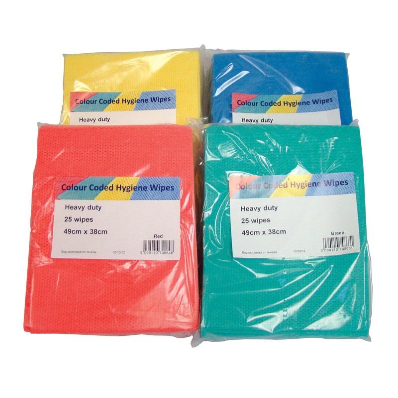 Anti-Bacterial System Plus Cleaning Cloths - Case of 6x25 - Colour Coded