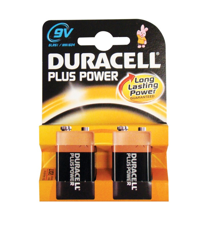 Duracell Plus MN1604 PP3 9v Batteries - Pack of 2