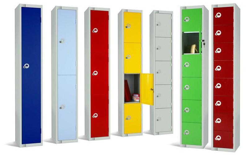 Four Door Steel Locker with Coloured Door 1800x300x450mm