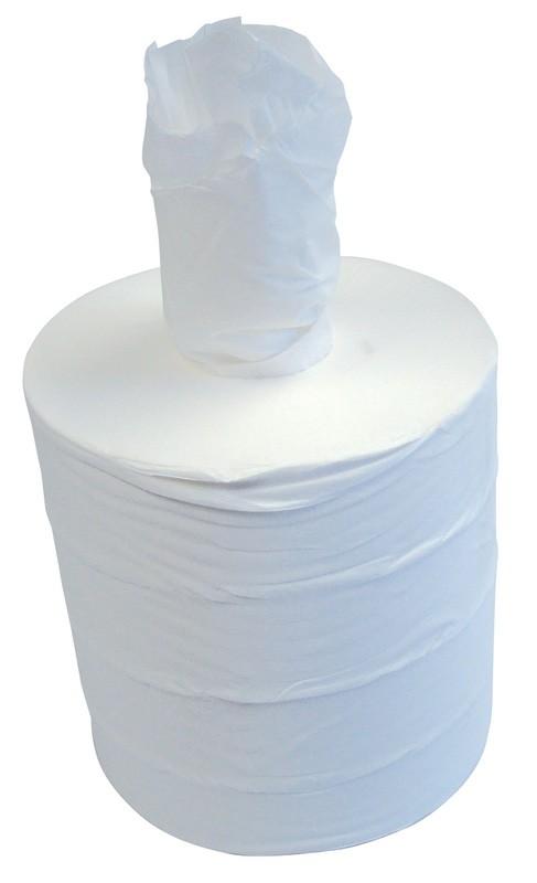 300m 19.5cm 1ply White Centre Pull Rolls - Case of 6