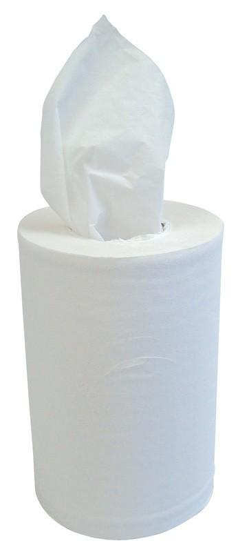 120m 19cm 1ply White Mini Centre Pull Rolls - Case of 12