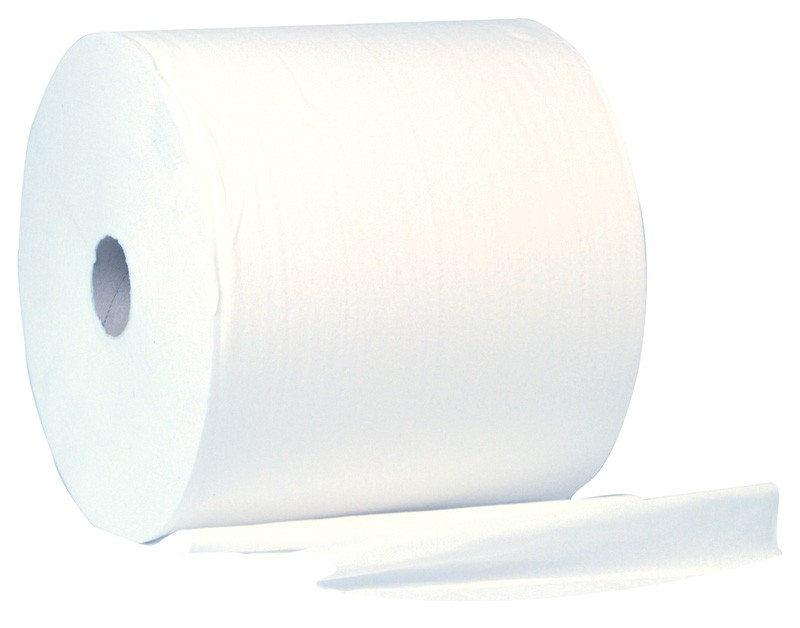 400m 28cm White 2ply 1000 Sheet Wiper Roll - 2 per Case
