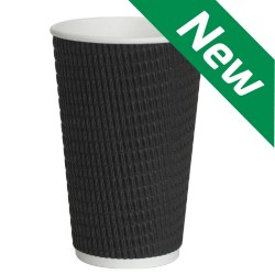 Black Triple-Wall Ripple Cups  16o