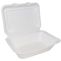 "7"" X 5"" Bagasse Clamshell Regular Box"