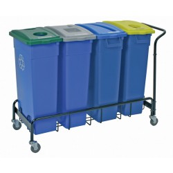 4 Bin Wall Hugger Mobile Trolley