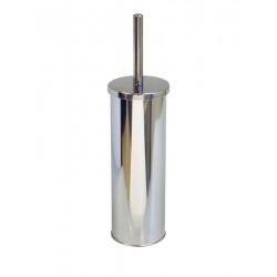 Round Mirrored Metal Toilet Brush and Holder