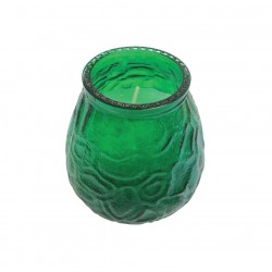 Green Venetian Glass Table Lamp with Candle