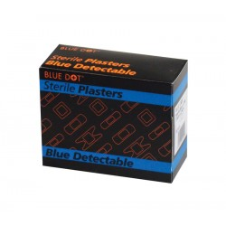 Blue Metal Detectable Finger Plasters 7.5x2.5cm - Box of 100