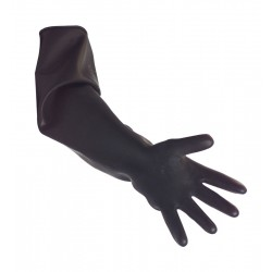Black Heavy Duty Elbow Length Rubber Gauntlets