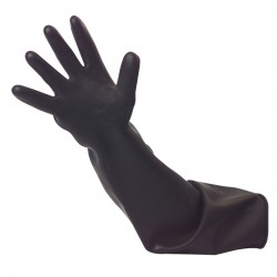 Black Shoulder Length Heavy Duty Rubber Gauntlets
