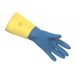 Blue/ Yellow Bi-Colour Heveaprene Rubber Gloves