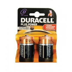 Duracell Plus MN1300 Type D 1.5v Batteries - Pack of 2