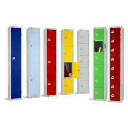 Four Door Steel Locker with Coloured Door 1800x300x300mm