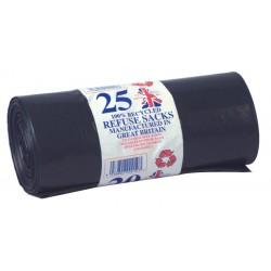 "Master 405x740x990mm (16x29x39"") 90ltr ENSA 18kg Black Refuse Sacks On A Roll - Case of 8 Rolls of 25"