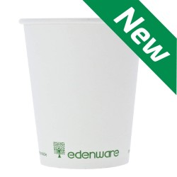 PLA Compostable Single Wall Coffee Cups 8oz White