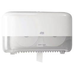 558040 Tork White Twin Coreless Toilet Roll Dispenser