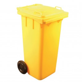 120ltr Yellow Two Wheel Wheelie Bin
