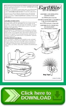 Image of manual for Earthway Ev-n-Spred 2750 Hand Operated Rock Salt Spreader