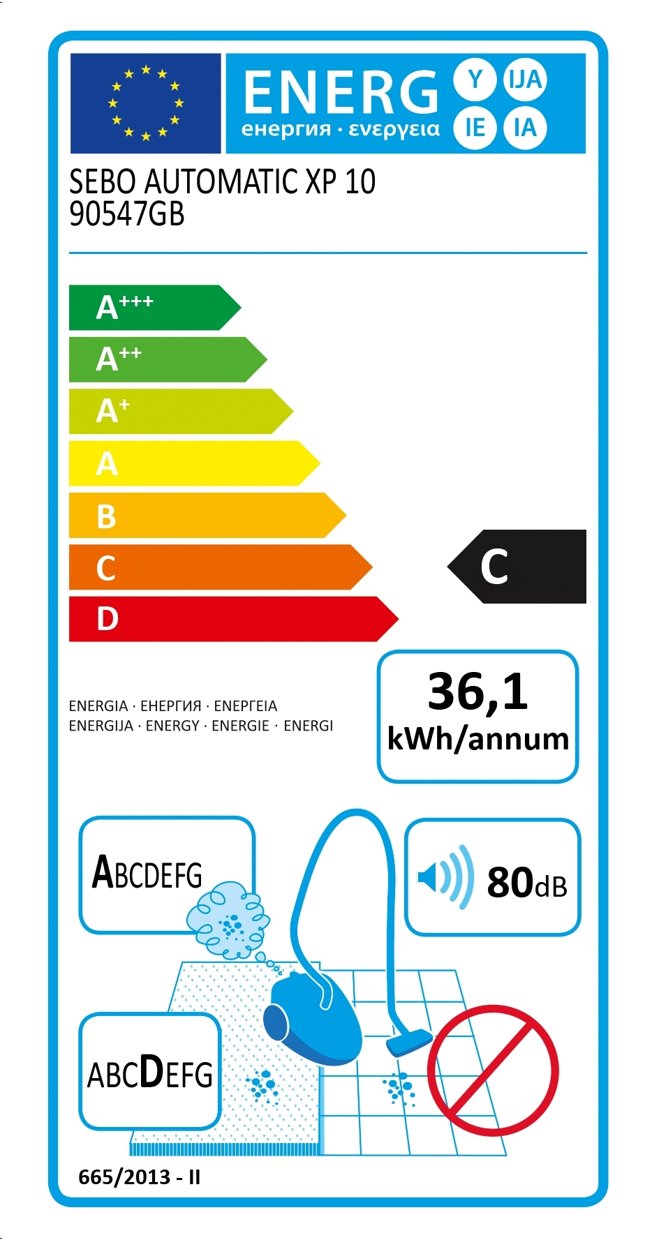 Image of energy label for SEBO XP10