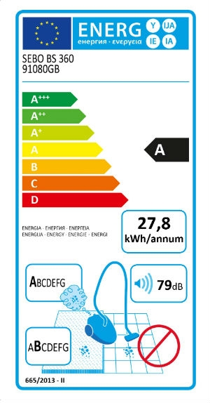 Image of energy label for SEBO BS360