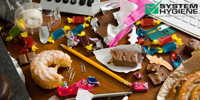 Photograph of a very mucky and yucky desk