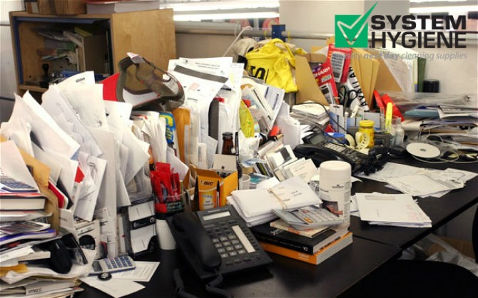 messy office ripe for a spring clean